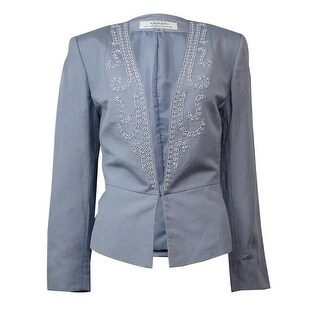 Tahari Women's Bead Embellished Long Sleeve Linen Blazer - Grey
