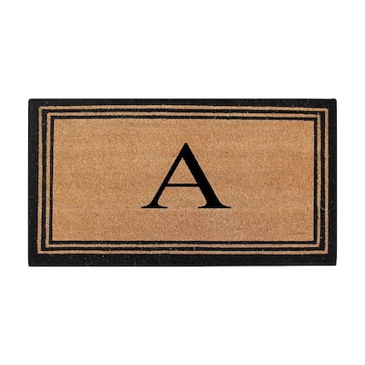 A1HC Pure Natural Coir Doormat with Heavy Duty PVC Backing,0.75 Inch Pile Height,Perfect for Outdoor Use, Monogrammed