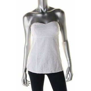 Guess Womens Kate Cotton Eyelet Strapless Top - M