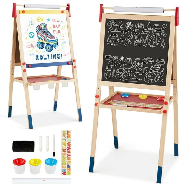 """All-in-One Wooden Height Adjustable Kid's Art Easel - 23.5"""" x 21.5"""" x 44""""/46.5""""/49"""" (L x W x H). Opens flyout."""