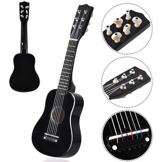 Costway 21'' Beginners Kids Acoustic Guitar 6 String with Pick Children Kids Musical Gift - black