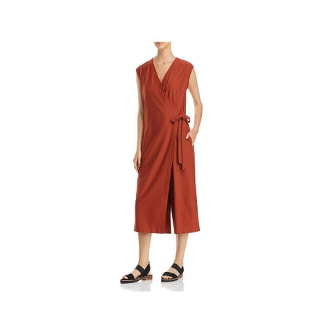 Eileen Fisher Womens Jumpsuit Faux-Wrap Crop