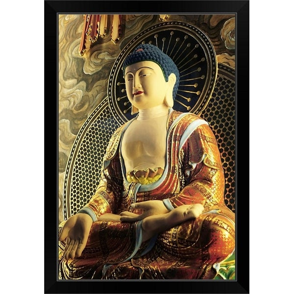 """A Buddha figurine at the Buddha Tooth temple."" Black Framed Print"