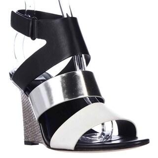 Elie Tahari Palma Wedge Strap Sandals, Crom/Argentino/Nero