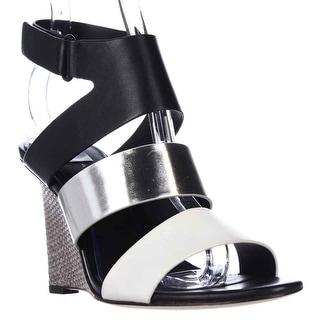 Elie Tahari Palma Wedge Strap Sandals - Crom/Argentino/Nero