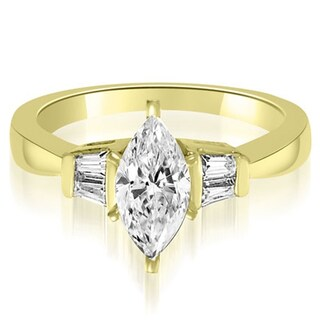 0.70 ct.tw 14K Yellow Gold Marquise And Baguette 3-Stone Diamond Engagement Ring HI, SI1-2