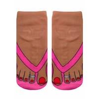 Flip Flops (Tan) Photo Print Ankle Socks - Pink