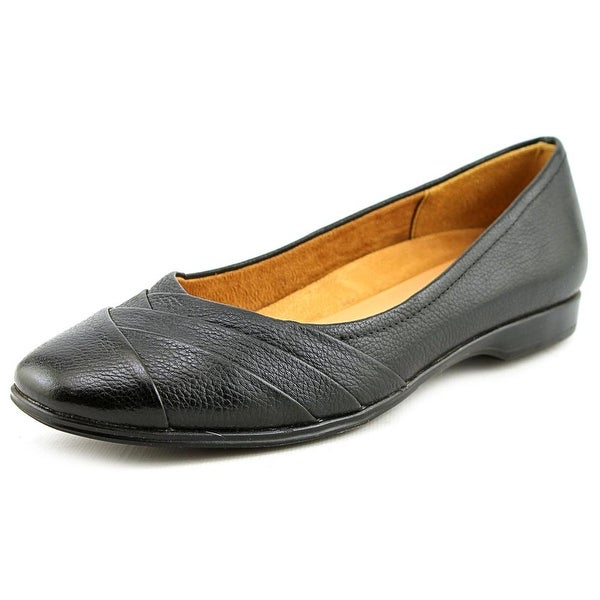 Naturalizer Jaye Women WW Round Toe Leather Black Flats