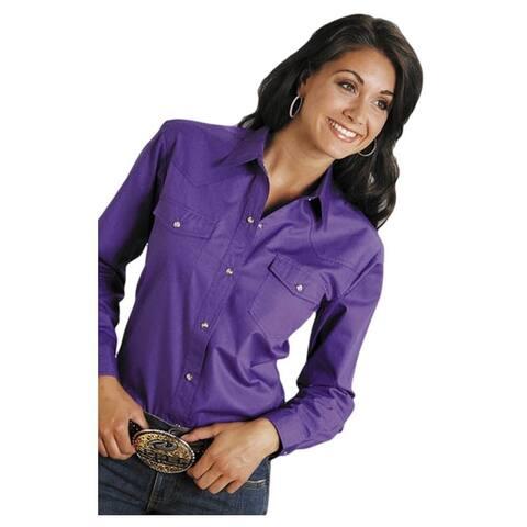 Roper Western Shirt Womens L/S Solid Poplin Purple