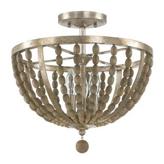 """Donny Osmond Home 4795 3 Light 15"""" Wide Semi-Flush Ceiling Fixture from the Lowell Collection - tuscan bronze with wood beads"""