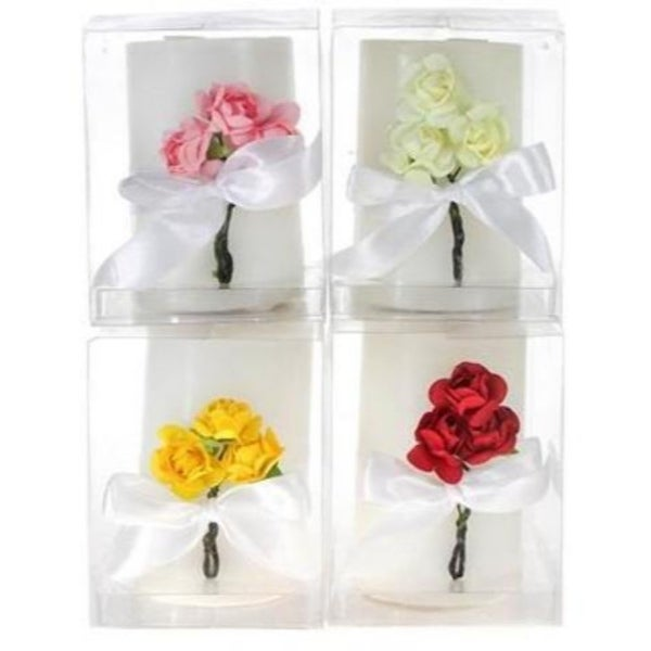 Scented Pillar with Roses Candle in Clear Box - Assorted - 48 Units