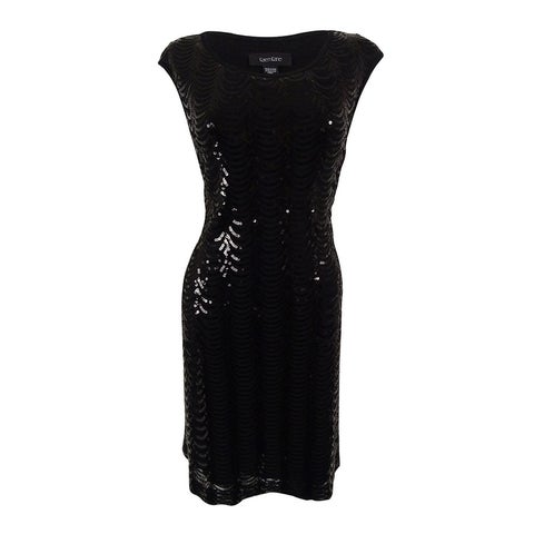 Connected Women's Cap Sleeve Scallop Sequin Dress