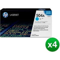 HP 504A Cyan Original LaserJet Toner Cartridge (CE251A)(4-Pack)
