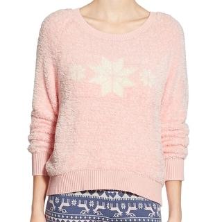 Make + Model NEW Pink Fuzzy Knit Womens Medium M Snowflake Sweater
