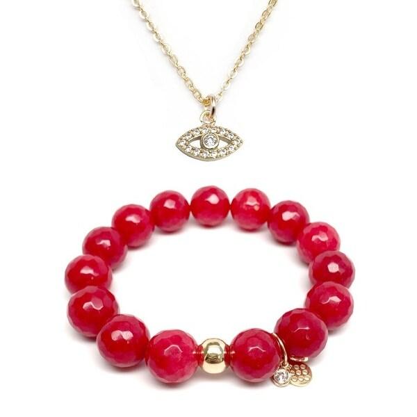 Red Quartz Bracelet & CZ Lucky Eye Gold Charm Necklace Set