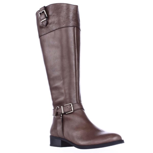 I35 Fedee Harness Strap Wide Calf Riding Boots, Cement