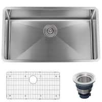 "Miseno MSS3018SR 30"" Undermount Single Basin Stainless Steel Kitchen Sink - Drain Assembly and Fitted Basin Rack Included Free"