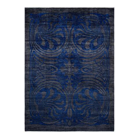 """Eclectic, One-of-a-Kind Hand-Knotted Area Rug - Gray, 10' 3"""" x 14' 1"""" - 10' 3"""" x 14' 1"""""""