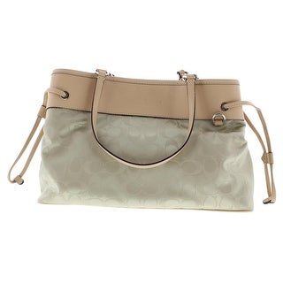 Coach Leather Trim Jacquard Satchel Handbag - biscuit/tan - Medium