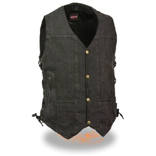 Men S 10 Pocket Side Lace Denim Vest