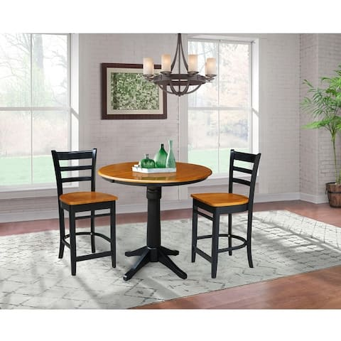 """36"""" Round Extension Dining Table with 2 Counter Height Stools"""