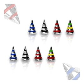 10 Piece Surgical Steel Striped Spike Package - 16GA (3x4mm Spike)