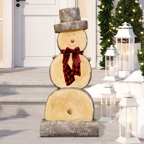 Alpine Wooden Snowman Statue, 46 Inch Tall