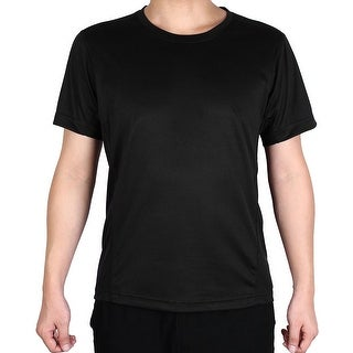 Men Polyester Short Sleeve Clothes Casual Wear Tee Biking Sports T-shirt Black L