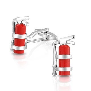 Bling Jewelry Red Enamel Fireman Fire Extinguisher Cufflinks Set Stainless Steel Plated