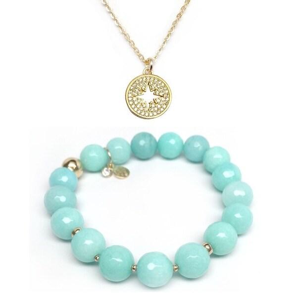 Aqua Quartz Bracelet & CZ Starburst Gold Charm Necklace Set