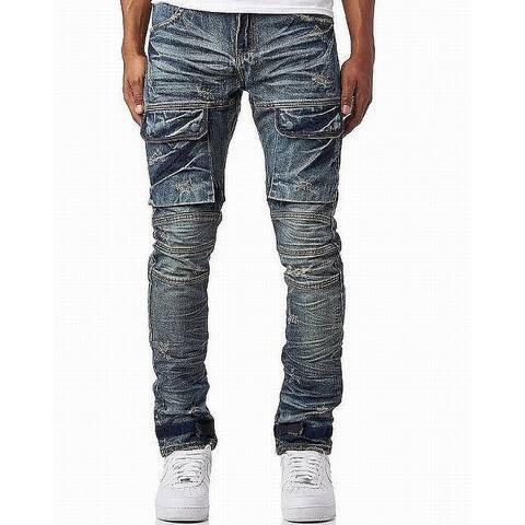 Heritage Mens Jeans Blue Size 32x33 Slim Cargo Straight Leg Stretch