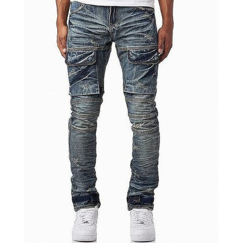 Heritage Mens Jeans Blue Size 36X33 Distressed Straight Leg Stretch