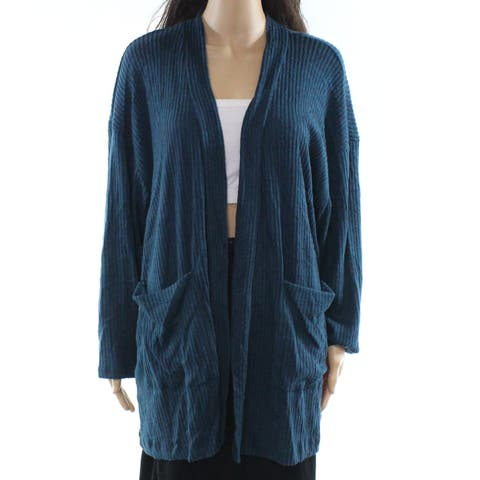 Lush Blue Women's Size Small S Ribbed Knit Open Cardigan Sweater