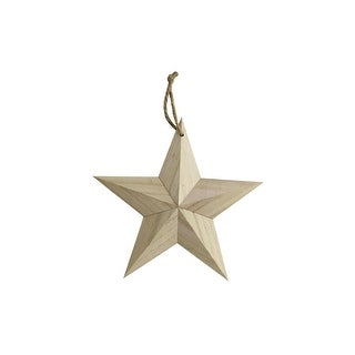 "SPC Wood Ornament Sm Star W/Hanger 6"" Natural"