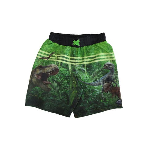 Universal Studios Little Boys Green Jurassic Park Inspired Swim Shorts