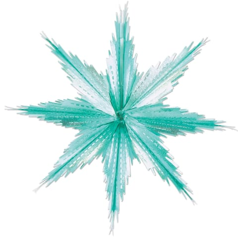 """Beistle 2-Tone Metallic Snowflakes (2/Pkg), Turquoise & Silver - 12 Pk - Turquoise & Silver - 11.5"""""""