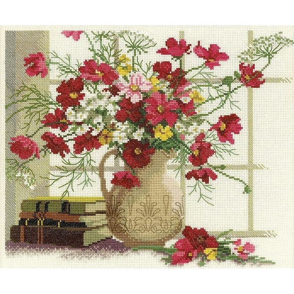 """Blooming Cosmos Counted Cross Stitch Kit-12.5""""X10.625"""" 14 Count"""