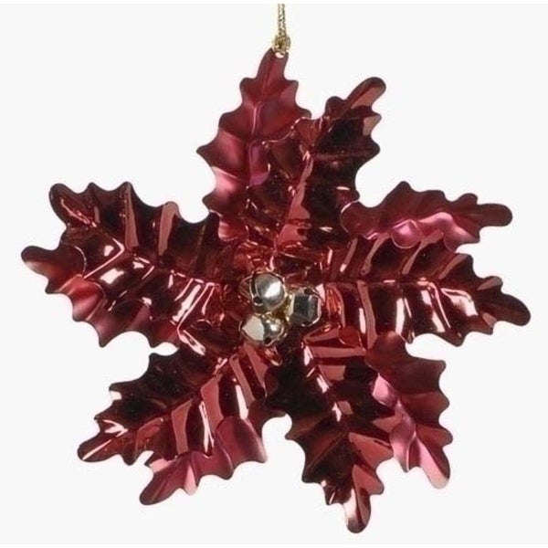 """6"""" Holiday Cheer Red Poinsettia with Gold Bells Christmas Ornament"""