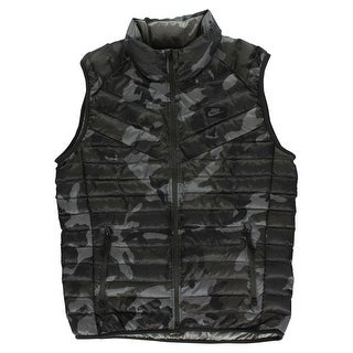 Nike Mens Guild 550 Duck Down Camo Print Vest Army Green - army green/black/grey - M