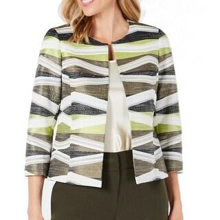 Link to Kasper Women's Jacket Green Size 4 Open Front Colorblock Stripe Similar Items in Women's Outerwear