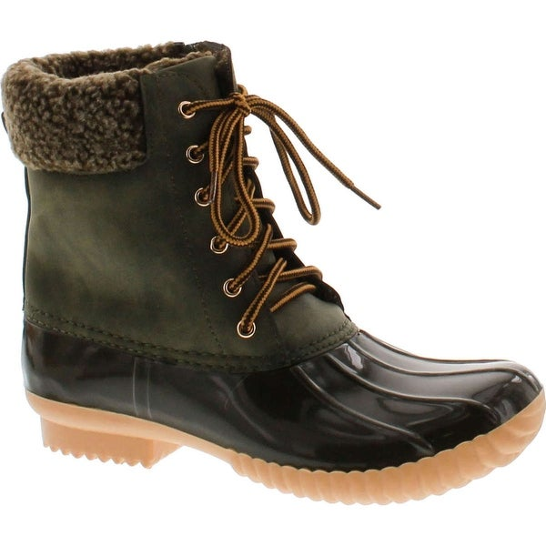 Nature Breeze Duck-02 Women Stitching Lace Up Side Zip Waterproof Insulated Boot