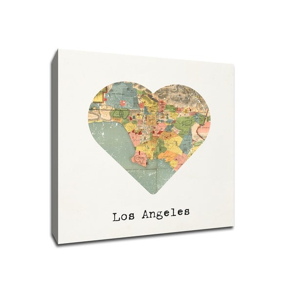 Los Angeles - City Map to My Heart - 12x12 Gallery Wrapped Canvas Wall Art