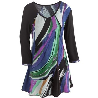 Women's Tunic Top - Color Brushstrokes Long Sleeve Scoop Neck - Purple
