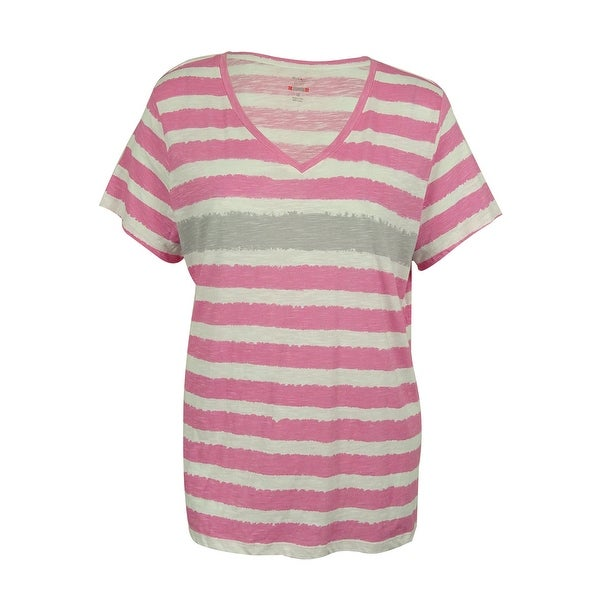 Style & Co. Women's V-Neck Striped Tee