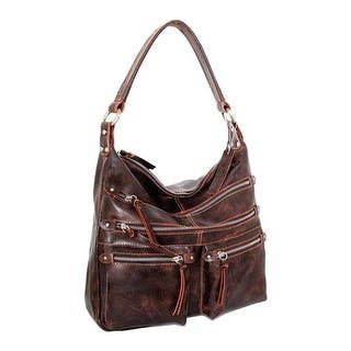 Nino Bossi Women S Heather Leather Hobo Handbag Chocolate Orange Us One Size