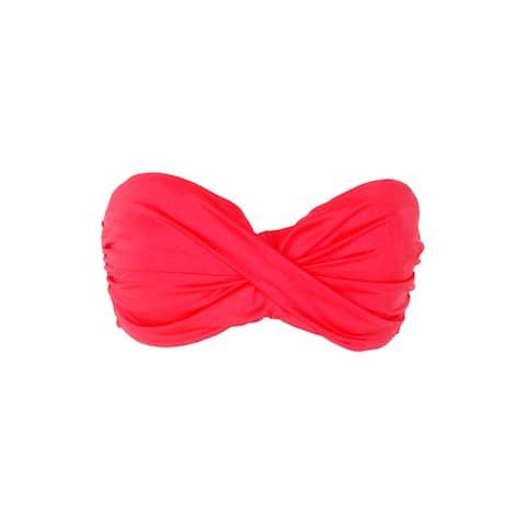 L Space Red Twist Front Bandeaub Josie Bikini Top XS