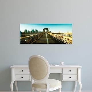 Easy Art Prints Panoramic Images's 'City viewed from Brooklyn Bridge, Manhattan, New York City' Premium Canvas Art