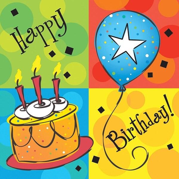 16 Pack Beverage Napkins Cake Celebration - Multi