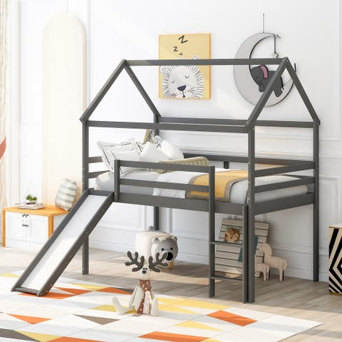 Nestfair Twin Size Loft Bed House Bed with Slide
