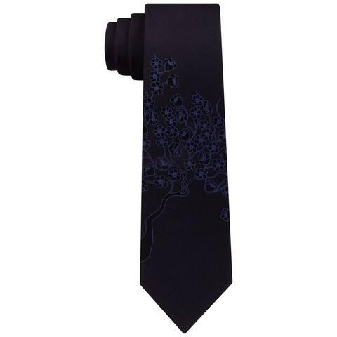 Calvin Klein Mens Wildflower Panel Self-tied Necktie, blue, One Size - One Size